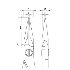 Ergo-tek Pliers - Long Snipe Nose diagram